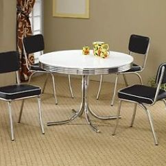 Retro Dining Room Table And Chairs Inglesina Chair 1950s Style Chrome Black Image Is Loading
