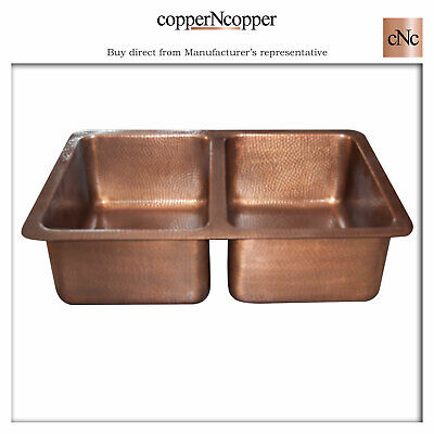 copper kitchen sink double bowl hammered antique copper without front apron ebay