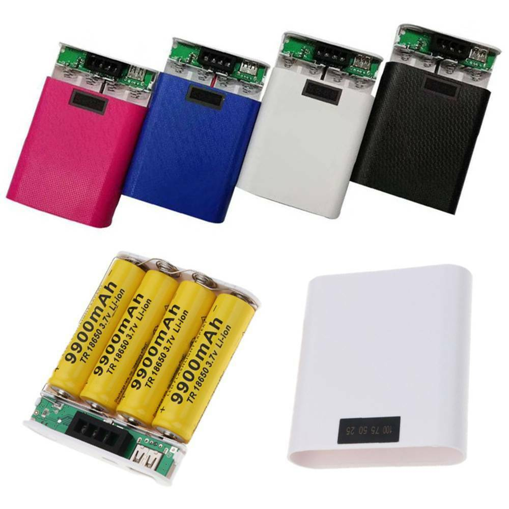 4X18650 Power Bank Case USB DIY Shell Case Box Phone Charger With Screen ca
