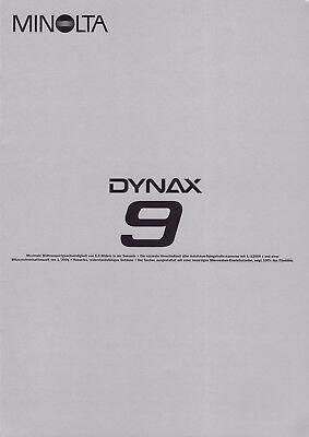 Minolta Dynax 9 Dynax 9, Catalogue, BROCHURE, PROSPEKT