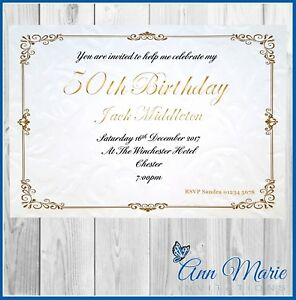 Details About 10 X Personalised 50th Birthday Party Invitation Cards Invites With Envelopes