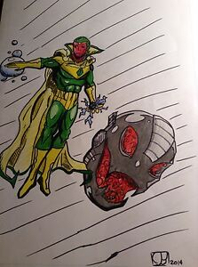Avengers Comic Book Art Ultron And Vision