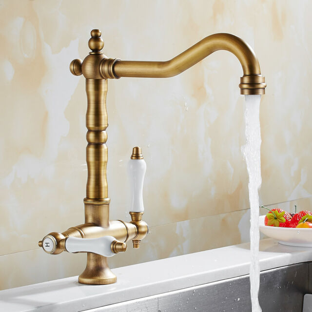 brass faucet kitchen plastic containers everso sink mixer taps traditional georgian antique bronze ebay