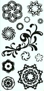 Circle Graphs Flower Flourish Clear Acrylic Stamp Set by