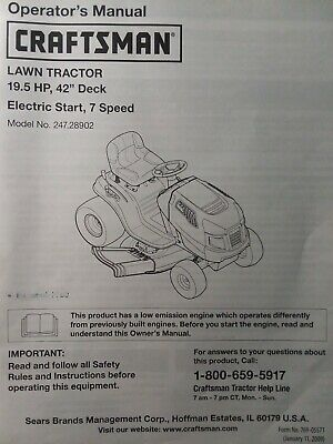 "sears craftsman 195 hp lawn tractor  42"" mower owner  parts manual  24728902  ebay"