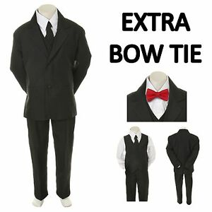 New Baby Toddler Boy Black Formal Wedding Party Suit