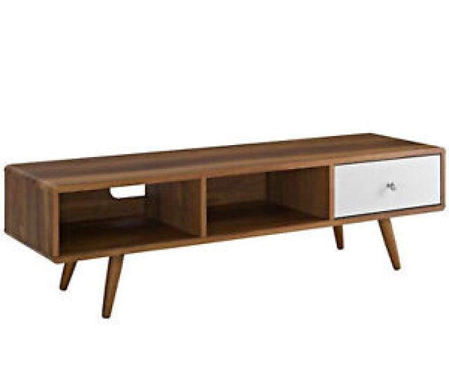 Details About 55 Mid Century Modern Led Lcd Dlp Hd Walnut White Low Profile Tv Stand Media