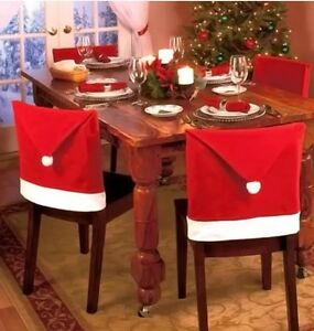 christmas chair covers ebay white foldable chairs nz red santa hat 21 x 20 set of 4 brand new image is loading 034