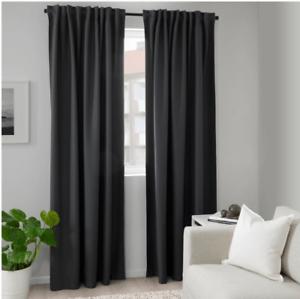 details about ikea annakajsa gray room darkening curtain panels 57 x 98 pair
