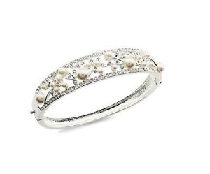 Charter Club Silver-Tone Hinged Bangle Bracelet Pearls