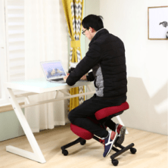 Ergonomic Chair Kneeling Posture Office Helper Wooden Furniture Home Black Image Is Loading