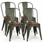Set Of 4 Tolix Style Metal Dining Side Chair Wood Seat Stackable Bistro Cafe New