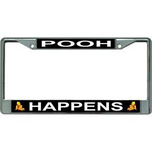 winnie the pooh happens disney logo chrome license plate frame made in usa | eBay