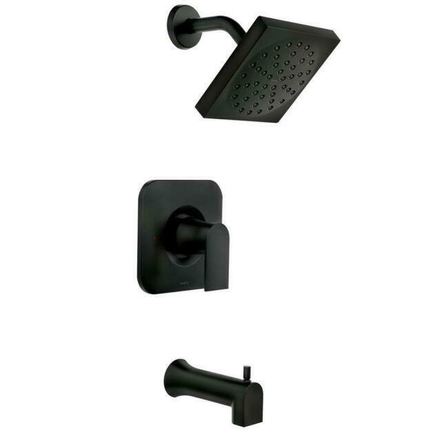 moen 82760bl genta single handle 1 spray tub and shower faucet in matte black b4