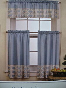 Curtain TiersValance Set Red Stripe Blue Lattice Pasta