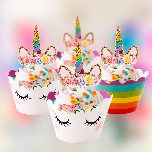 24pcs Rainbow Unicorn Cupcake Toppers Kids Birthday Party