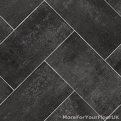 dark grey herringbone tile style vinyl flooring kitchen bathroom lino 2m 3m 4m ebay