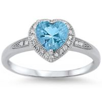 Halo Style Heart Aquamarine Cz Promise Ring .925 Sterling ...