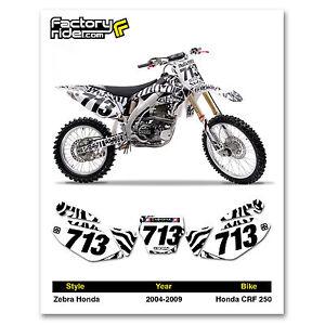 2004-2009 HONDA CRF 250 Zebra Dirt Bike Graphics Motocross