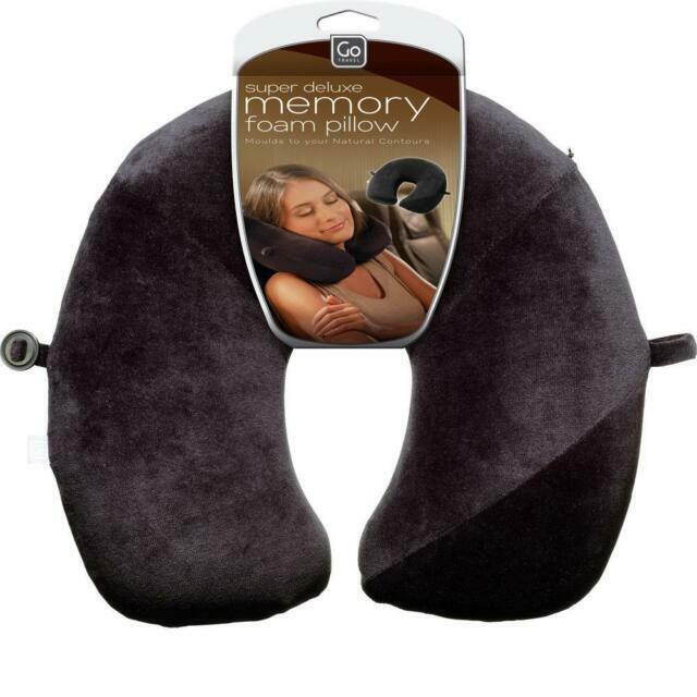 go travel e0 flat back design memory foam neck pillow black 457kk
