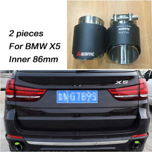 details about car akrapovic carbon fiber exhaust tip for bmw x5 11 up muffler rear tail pipes