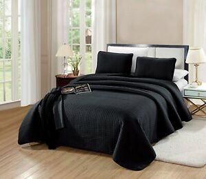 details about twin twin xl size florence quilt set solid black bedspread microfiber coverlet