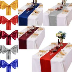 Wedding Chair Covers Melton Mowbray Space Saver Table And Chairs 275 17cm Satin Sashes Cover Bow 30 Runner Image Is Loading
