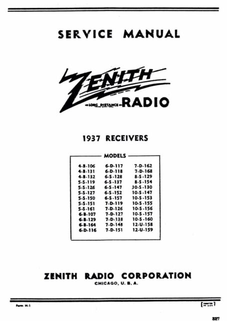 1937 Zenith Receivers Service Manual and Parts List
