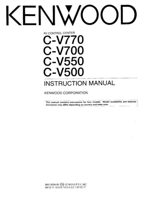 Kenwood CV-500 AV Control Center Owners Instruction Manual