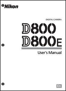 Nikon D800 D800E User Manual Guide Instruction Operator