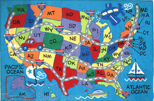 What you need to know before you travel read more. 3x5 Educational Rug Usa Travel Map States Initials Kids Play Road Kid America Ebay
