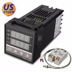 Pid Temperature Controller Kit Wiring Diagram Ceiling Light Australia Ac 110 240v Kits 0 999 C 40a Ssr 1m K Image Is Loading