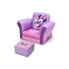 Kids Chair And Ottoman Xl Padded Zero Gravity With Canopy Disney Minnie Mouse Sofa Purple Girls Pink Image Is Loading