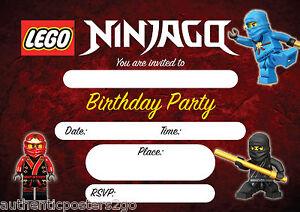 details zu 16 lego ninjago pack of 10 kids children birthday invitations invites