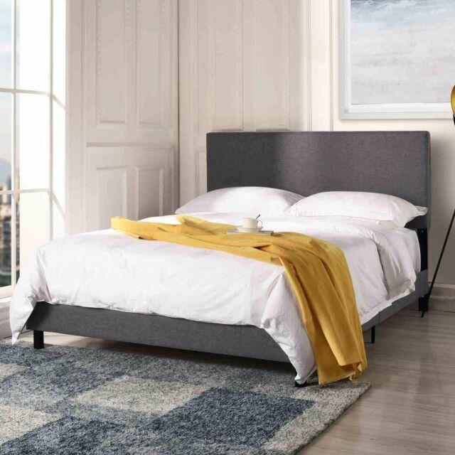 modern bed frame upholstered headboard platform queen size bed in dark grey