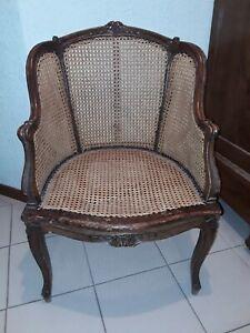 details sur ancien fauteuil canne bergere style louis xv double cannage caned armchair
