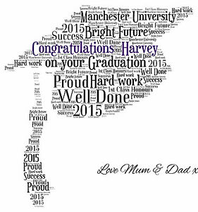 Personalised Mortar Board Graduation Hat Word Art Print