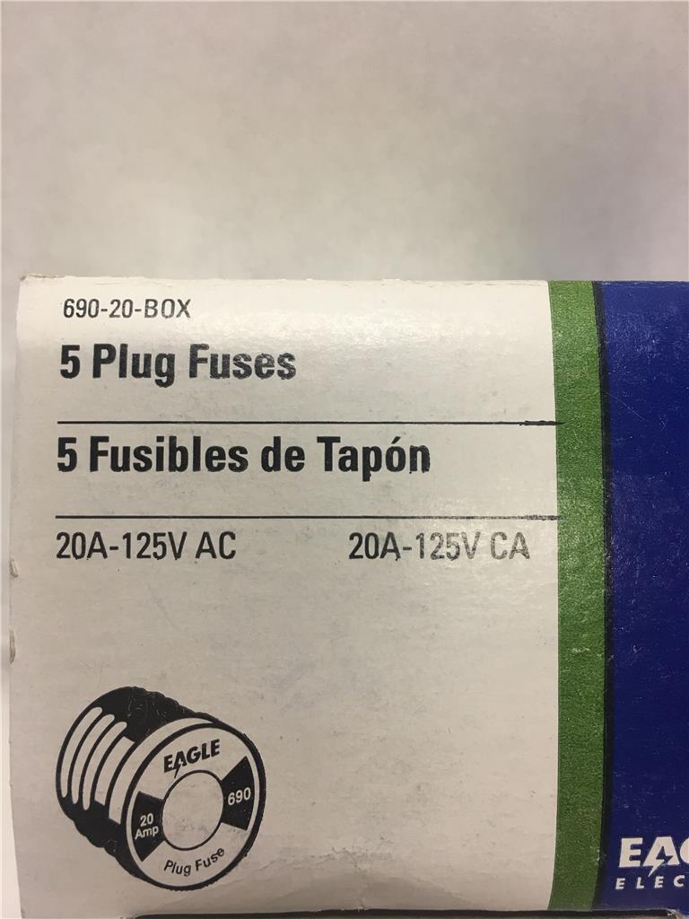 medium resolution of eagle ok glass plug fuses 690 20 20 amps 125v boxes of 5 for sale online ebay