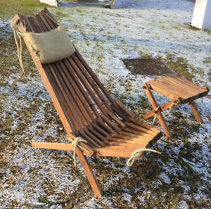 details zu wooden patio chair recliner foldable garden lounge seat natural wood furniture