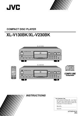 JVC XL-V130BK XL-V230BK CD Player Owners Instruction
