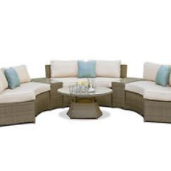 Maze Rattan Half Moon Sofa Set Grey Sure Fit Slipcover Suede Garden Furniture With Side Tables Ebay