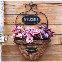 Wall mounted plant basket flower holder metal w wicker ...