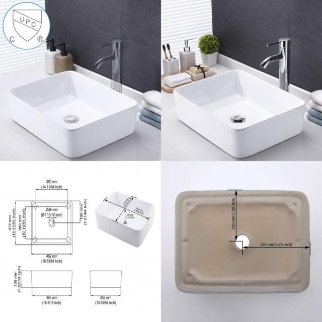 kes bathroom rectangular porcelain vessel sink above counter white countertop