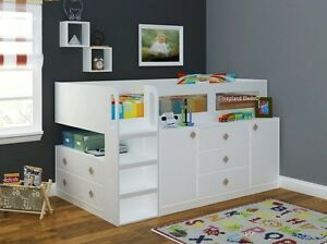 White Cosmos Cabin Bed Midsleeper With Storage By Sleepland New Childrens Beds Ebay