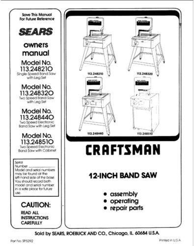 Craftsman 113.248510 113.248320 Band Saw Instruction