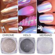 3 pots unicorn nail powder aurora
