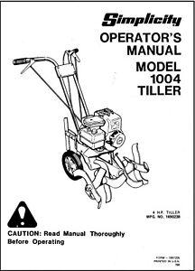 Simplicity 4 HP Tiller Model 1004 Operator Maintenance