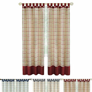 details about window curtain panels geometric plaid gingham button tab top drapes