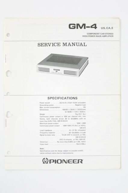 Pioneer GM-4 Original Car Power Amplifier Service Manual