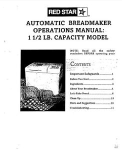 Red Star Bread Machine Manual BM635, BM712A, BM735, ERS100